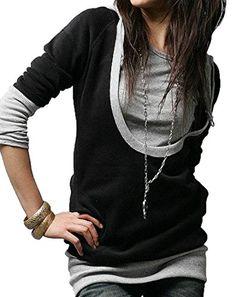 Sheng XiWomen Sheng Xi Women's Stitch Stylish Wild Simple Casual Sweatshirt Hoodies