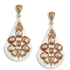 Blush Pink Crystal Clear Teardrop Earrings