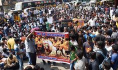 Madurai: Hundreds of youths who have gathered from southern districts, participating in a protest demanding the Central government to lift the ban on Jallikattu, in Madurai on Tuesday. PTI Photo (PTI1_11_2017_000237B)