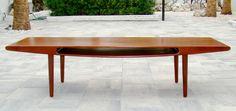 Vintage 1960's Danish Modern Mid Century Smile Teak Coffee Table