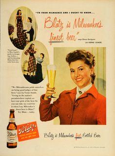 Advertising: 1949 Ad Blatz Beer Bottle La Verne Sunde Dress Designer #Wisconsin #advertising #vintage