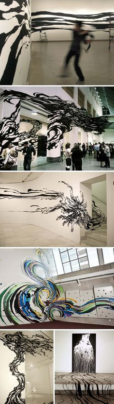 Sun K. Kwak, Korean art, contemporary installation using tape SB - Just amazing! Click on it to see more!!!!!