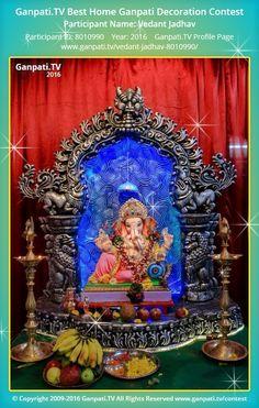 Vedant Jadhav Home Ganpati Picture View more pictures and videos of Ganpati Decoration at www. Ganpati Decoration Ideas Thermocol, Ganpati Decoration Theme, Mandir Decoration, Ganapati Decoration, Shiva Art, Ganesha Art, Lord Ganesha, Mandir Design, Pooja Room Design