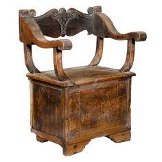 Rare Italian Renaissance Carved Walnut  Cabinet Chair, 15th/16th Century Davanzati Pal HEIGHT:35.5 in. (90 cm) WIDTH:27 in. (69 cm) DEPTH:16.75 in. (43 cm) SEAT HEIGHT:18.5 in. (47 cm) http://www.1stdibs.com/furniture/seating/chairs/