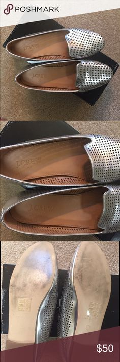 Jcrew like new cara loafers These have only been worn 3 times. Excellent condition. Comes with box.  No wear inside no wear on heel just slight wear on outer sole. Cute perforated silver goes with everything.  True to size J. Crew Shoes Flats & Loafers