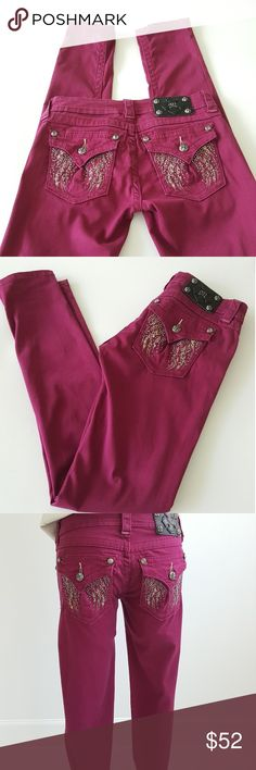 """Miss Me Raspberry Skinny Jeans """" JP561653 Authentic Miss Me skinny jeans in raspberry color and perfect for any outfits,  very good conditions, Cristal buttons and angels wings on the back . Size 27 inseam 32"""" gently worn few times. Miss Me Jeans Skinny"""