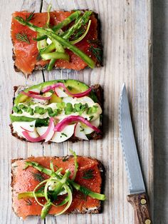 These Danish open-faced sandwiches from The Natural Food Kitchen make a great lunch, or if made smaller can become lovely canapes. Danish Cuisine, Danish Food, A Food, Food Game, Food And Drink, Great Recipes, Favorite Recipes, Fall Recipes, Bruschetta