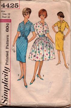 Simplicity 4425 Ladies Dress Vintage 1960's Sewing Pattern #1960s #dress #ladies #simplicity #vintage #patterns #sewing #retro #vintagestitching