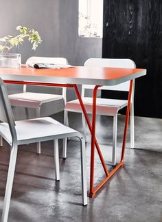 The BACKARYD/RYDEBÄCK Table, $89: Made of powder-coated steel and fiberboard, and only available in (super fun) bright orange.