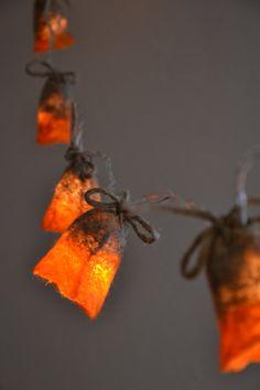 String Lights Bedroom Garland Grey Orange Felted light Eco on Etsy, $46.00