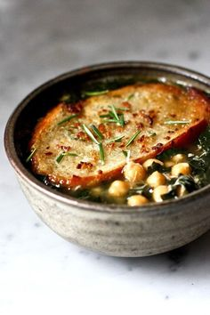 Six splendid September soups: Kale, chickpea and chicken soup with rosemary croutons