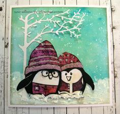"""""""No, I haven't put on weight...my vest shrunk!""""... snowy penguin card by Susie Williams... so cute!"""