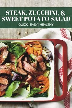 Looking for a tasty and healthy recipe for dinner? Fire up the grill and throw on some grassfed Aussie sirloin steak, sweet potato slices, and veggies. Healthy Crockpot Recipes, Healthy Meal Prep, Healthy Dinner Recipes, Beef Recipes, Healthy Snacks, Cooking Recipes, Healthy Tips, Sweet Potato Slices, Salad With Sweet Potato