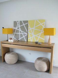 diy symmetrie moderne Leinwandbilder gelb grau kommode