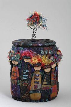 a Mused Studio: Helianthus & the Island Artisans Association Photoshoot Textile Fiber Art, Textile Artists, Fabric Bowls, Creative Textiles, Fibre And Fabric, Assemblage Art, Polymer Clay Art, Box Art, Fabric Art
