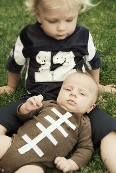 $5 football toddler player and baby football costume. easy idea for halloween