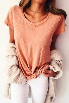 #fall #outfits women's orange scoop-neck t-shirt, white jeans, and gray cardigan
