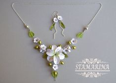 2-in-1 Necklace Bracelet Floral Jewelry Set by Stamarina on Etsy