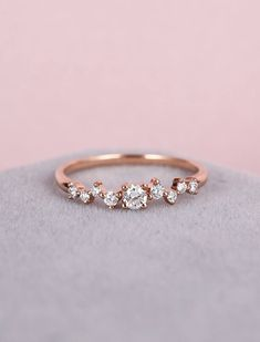 Diamond Cluster ring Twig engagement Ring Rose Gold Mini Floral Unique Wedding Band Women Bridal set Jewelry Multi Gift Promise Anniversary by NyFineJewelry on Etsy https://www.etsy.com/listing/522536308/diamond-cluster-ring-twig-engagement