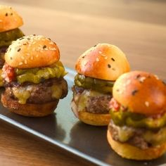 Mini Prime Burgers with Remoulade and Aged Cheddar Cheese Recipe from wolfgangpuck.com