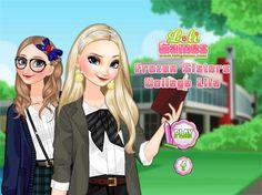 Elsa i Anna są studentkami na prestiżowym uniwersytecie. Na każdej uczelni obowiązują pewne standardy dotyczące ubioru. Dobierz szkolne ubrania dla księżniczek!