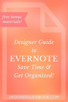 Designer Guide to Evernote: Save Time & Get Organized! Managing your design business can be messy. The Designer's Guide to Evernote is here to teach you how to save time and stay organized. Get your FREE copy today! Evernote, Business Design, Creative Business, Keeping A Journal, Time Management Tips, Business Advice, Business Software, Business Opportunities, Computer Programming