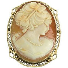 Art Deco Shell Cameo Gold Pin Pendant