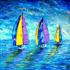 """Buy Spinnakers Up ( Large 30"""" x30"""" -76cm x 76cm), Acrylic painting by Paul J Best on Artfinder. Discover thousands of other original paintings, prints, sculptures and photography from independent artists."""