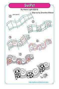 SwiPet Tangle, Zentangle Pattern by Alena Light Doodle Patterns, Zentangle Patterns, Mandala Pattern, Line Patterns, Pattern Art, Zentangle Drawings, Doodles Zentangles, Doodle Drawings, Doodle Art