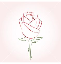 Rose Drawing Rose vector on VectorStock® Plant Drawing, Painting & Drawing, Drawing Drawing, Drawing Ideas, Flower Outline Tattoo, Rose Outline Drawing, Rose Drawing Simple, Flower Design Drawing, Red Rose Drawing