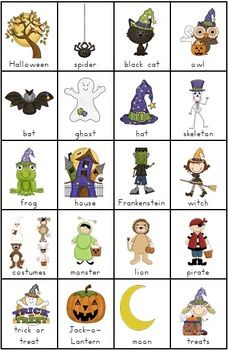 Free Halloween Vocabulary Chart with non-scary images. You could cut apart the chart to make matching or concentration games or 3-part cards.