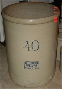 """Milwaukee - H.C. Schrank   Huge Red Wing 40 gallon crock with a blue stamp that reads """"H.C. SCHRANK CO. BOTTLERS' SUPPLIES MILWAUKEE, - - U.S.A"""