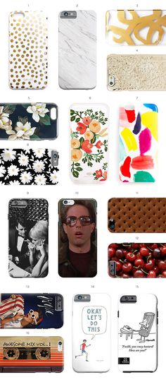 A round-up of iPhone cases, including pretty florals and funny illustrations.
