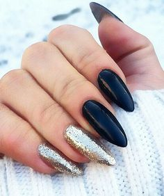 Black and glitter gold nails