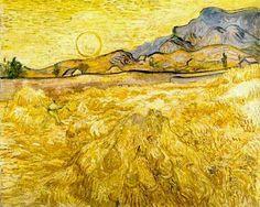 Print for the kitchen? Vincent van Gogh Wheatfield with Reaper and Sun, Otterlo, Museo Kröller-Müller, oil on canvas, cm Rembrandt, Vincent Van Gogh, Art Van, Claude Monet, Henri De Toulouse-lautrec, Van Gogh Arte, Van Gogh Pinturas, Van Gogh Landscapes, Sun Painting
