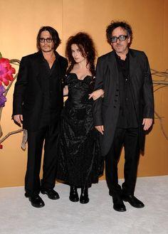 Tim Burton,Helena Bonham Carter and Johnny Depp