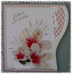 At Cardmaking Online this week I have made a birthday card using the Marianne Creatable I adore this die, it gives a lovel. 3d Cards, Cute Cards, Marianne Design Cards, Heartfelt Creations Cards, Shaped Cards, Die Cut Cards, Mothers Day Cards, Flower Cards, Baby Cards