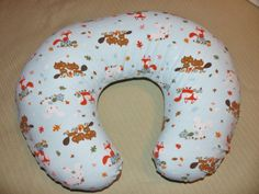 Woodland nursing pillow cover, blue- fits Boppy pillows by SewShellyFabrication on Etsy
