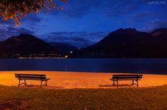 Night fall on Annecy lake in Saint Jorioz. France, Haute Savoie department.