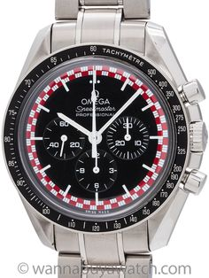 Omega Speedmaster Man on the Moon Ltd Ed circa 2003 - Omega Speedmaster Man on the Moon, ref 145.0051, movement serial# 777 million circa 2003. Featuring matte blackdial with red and white checkerboard perimeter, acrylic crystal, black tachometer bezel, and with solid case back. With Omega link bracelet with deployment clasp. 3 Registers manual wind caliber 1861 movement. Super sharp condition case and bracelet. Just fully serviced and offered with our 1 year warrantee of accurate time…