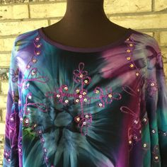 Plus Size Lightweight Sequined Rayon Tie Dye by OutrageousRags