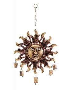 Sun Face Metal Wind Chime Garden Decor with Bells - are a symbol of peace and happiness and always make its calming presence felt. Its beauty and the sweet sound always lend a sweet charm to the ambience of any room. This sun faced metal wind chime is perfect for indoor and outdoor use.