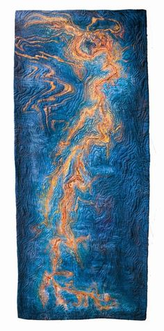 """""""Gulf of Mexico"""" art quilt by Isabelle Wiessler. SAQA-Europe / Middle East: February 2015"""