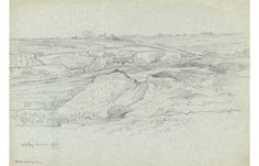 Rev Henry Robinson Wadmore - 1885 Graphite Drawing, Cottages in Landscape