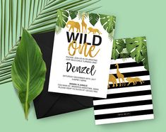 Tropical Safari Wild One First Birthday Invitation Wild One