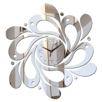 Silver 3D Mirror Surface Roman Numerals Decorative Mirror Wall Clock Stickers