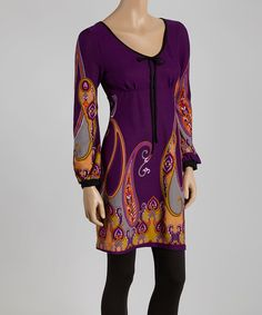 Look at this Purple & Orange Paisley Tunic - Women on #zulily today!
