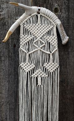 Macramé Wall Hanging on Gold Tipped Antlers
