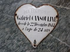 Reserved Vintage French mourning grave yard marker enamel cemetery tomb memento plaque