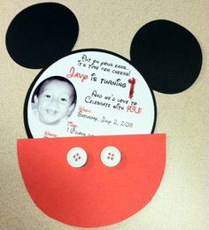 Mickey Mouse Invitation...used the half circle/pocket idea for ours 2013